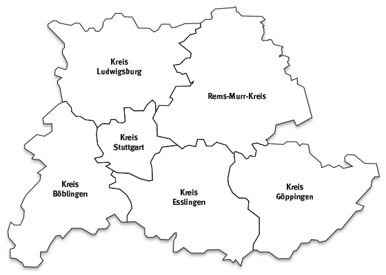 Landkarte Region Stuttgart