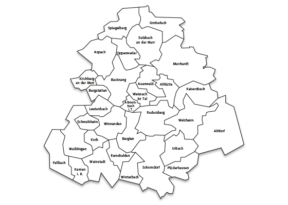 Landkarte Rems-Murr-Kreis